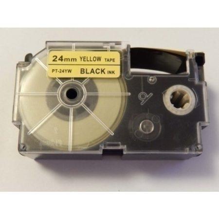 Casio XR 24YW 24mm * 8mm utángyártott sárga alapon fekete feliratozószalag kazetta
