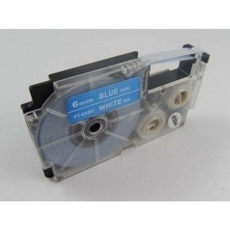 Casio XR-6ABU utángyártott feliratozószalag kazetta kék alapon fehér nyomtatás 6 mm * 8m
