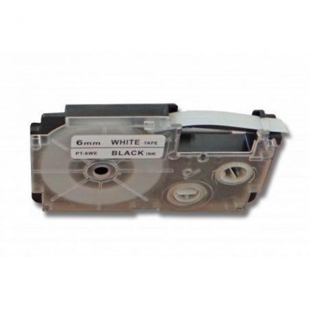 Casio XR-6WE1 utángyártott feliratozószalag kazetta fehér alapon fekete nyomtatás 6 mm * 8m