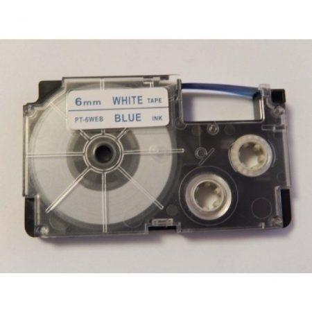 Casio XR-6WEB utángyártott feliratozószalag kazetta fehér alapon kék nyomtatás 6 mm * 8m