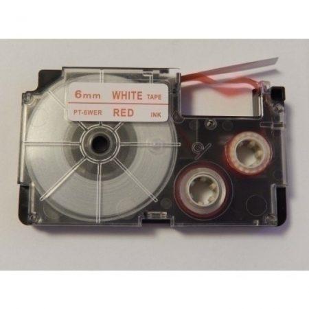 Casio XR-6WER utángyártott feliratozószalag kazetta fehér alapon piros nyomtatás 6 mm * 8m