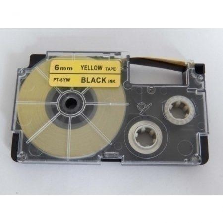 Casio XR-6YW1 utángyártott feliratozószalag kazetta sárga alapon fekete nyomtatás 6 mm * 8m