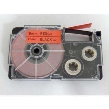 Casio XR-9RD1 utángyártott feliratozószalag kazetta piros alapon fekete nyomtatás 9 mm * 8m