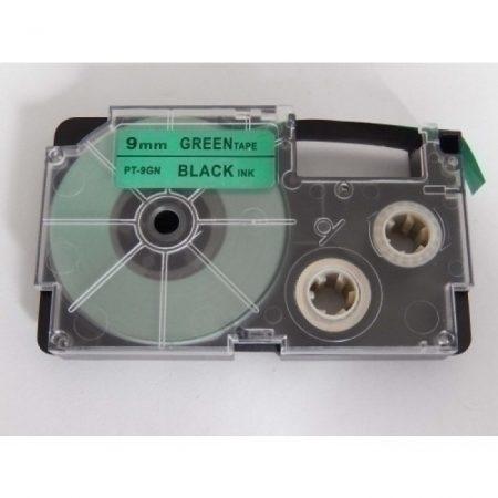 Casio XR-9GN1 utángyártott feliratozószalag kazetta zöld alapon fekete nyomtatás 9 mm * 8m