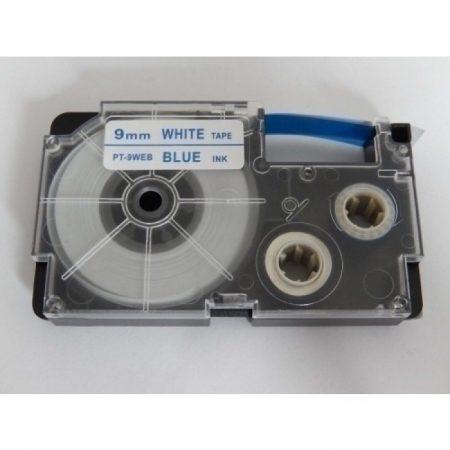 Casio XR-9WEB1 utángyártott feliratozószalag kazetta fehér alapon kék nyomtatás 9 mm * 8m