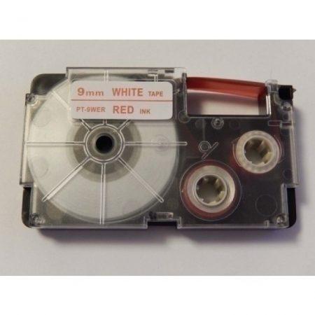 Casio XR-9WER utángyártott feliratozószalag kazetta fehér alapon piros nyomtatás 9 mm * 8m