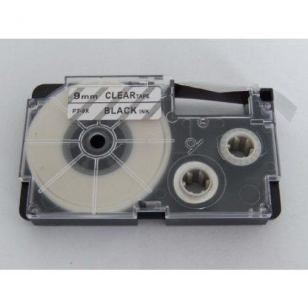 Casio XR-9X utángyártott feliratozószalag kazetta átlátszó alapon fekete nyomtatás 9 mm * 8m